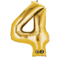 "Gold Number 4 Mini-Foil Balloon (16"" Air) 1pc"